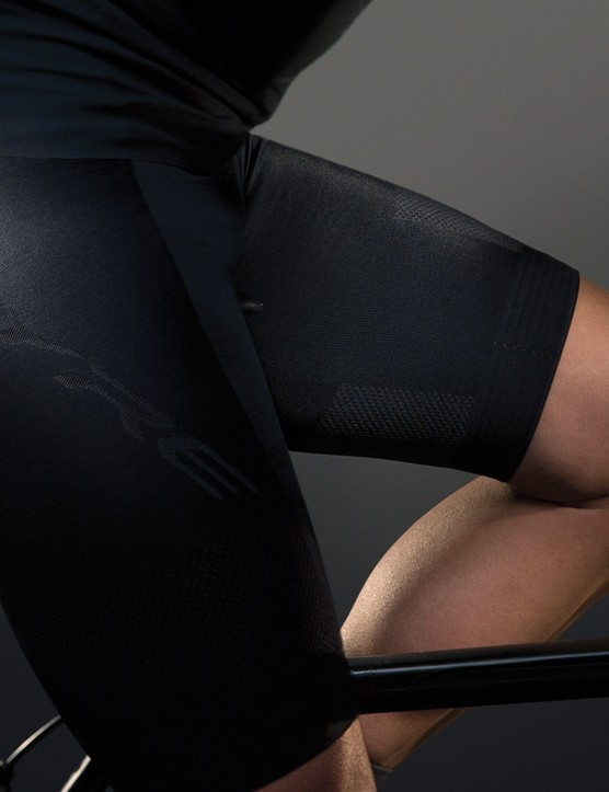 The bib shorts are padded with a shock-absorbing winged chamois