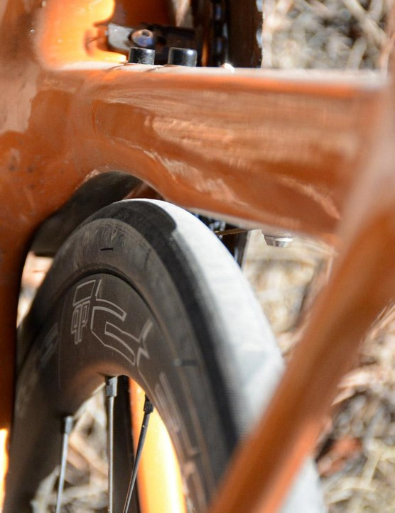 The seat tube features subtle aero shaping, but sadly there's not much for tire clearance
