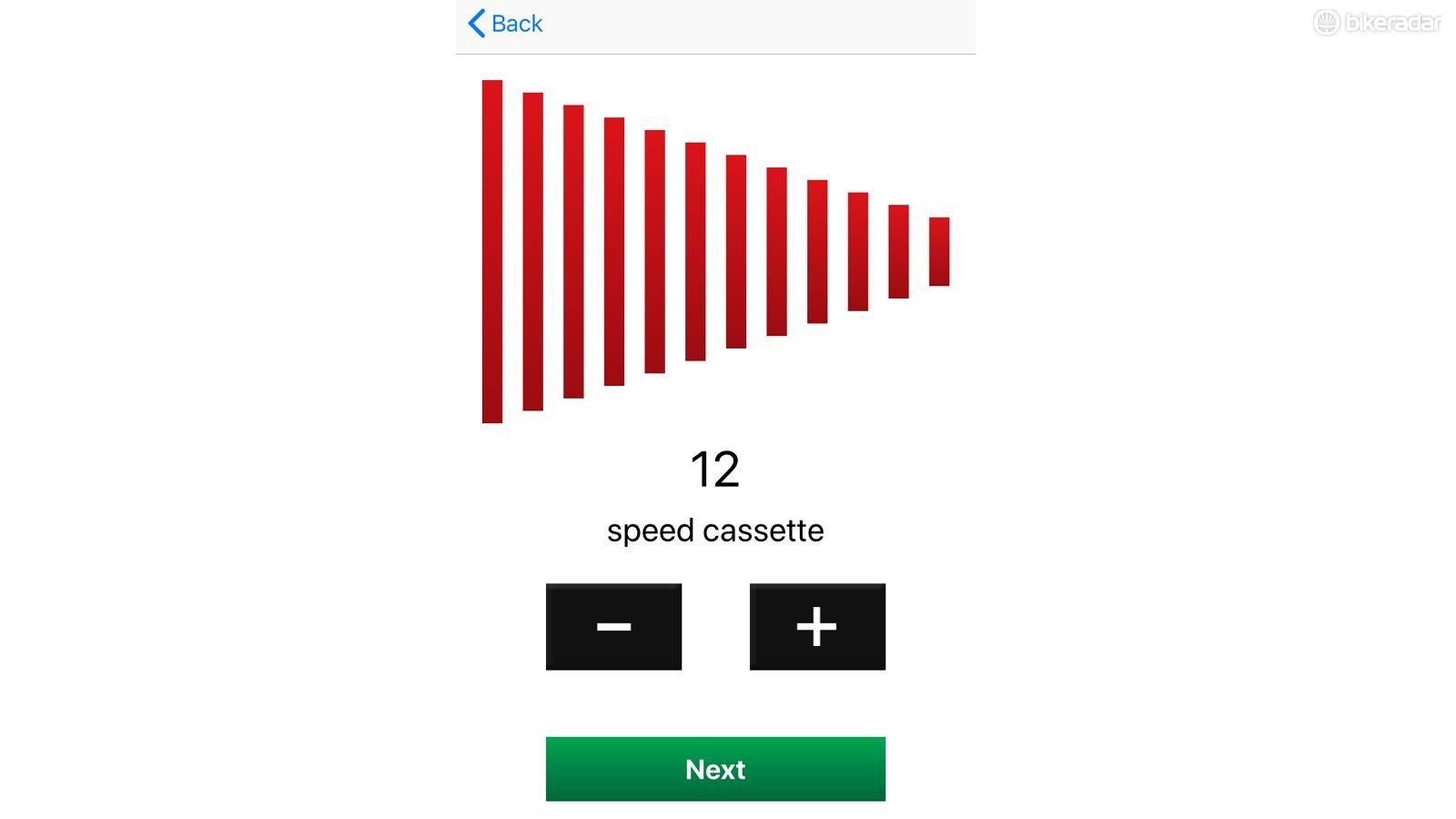 The app lets you choose between one and 20 gears