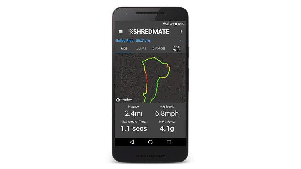 The ShredMate app colour-codes your GPS trace to indicate speed