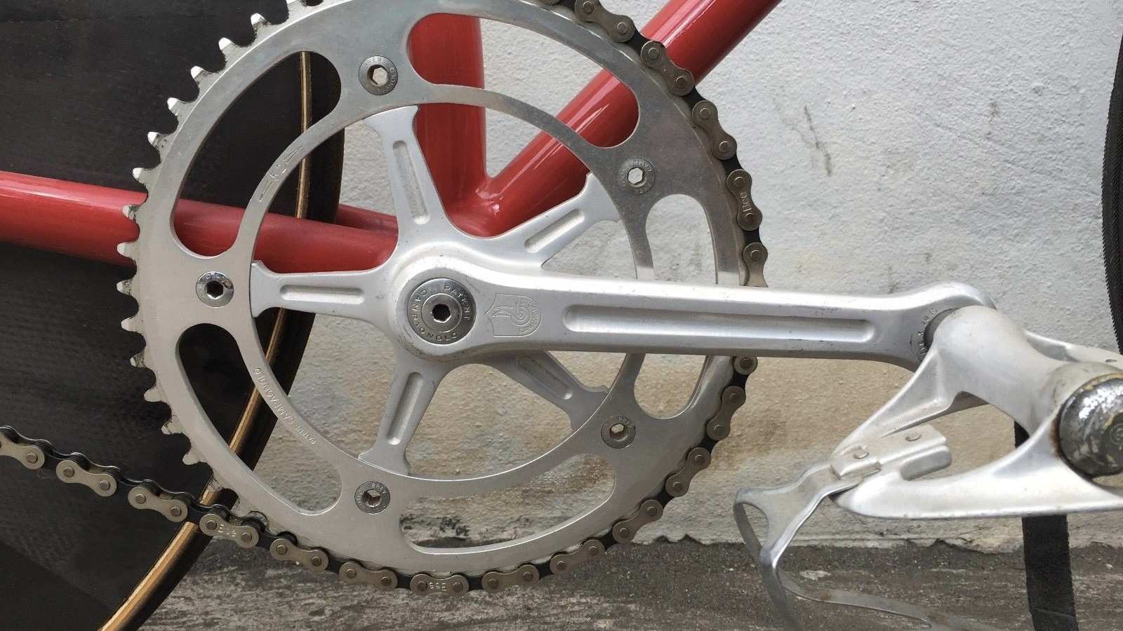 A monster size ring with spindly aluminum Campagnolo cranks, welcome to track cycling in the '70s