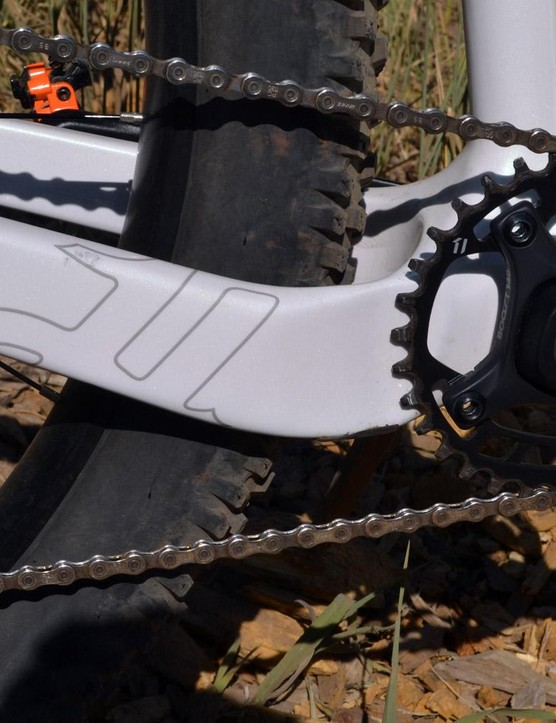 Asymmetrical chainstays keep the cranks, tires, chain and stays all working in harmony