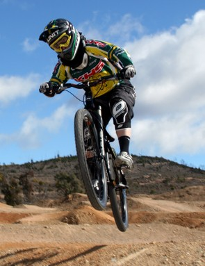 Caroline Buchanan flies down the four-cross course