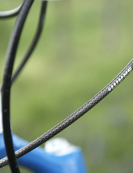 Sealed Flak Jacket cables and housing help keep the derailleurs shifting smoothly.