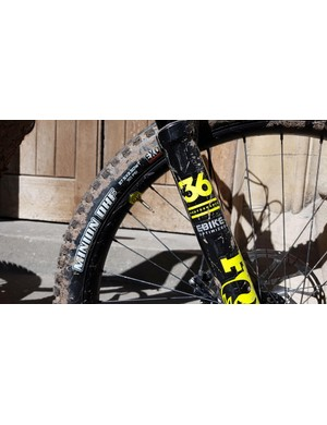 Fox's e-bike optimised fork gives additional stiffness, while the Minion DHF 2.5WT gives grip