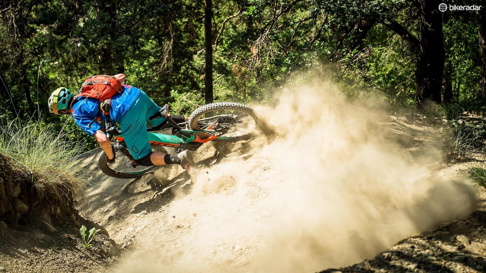 Grippy tyres and a planted feel allowed me to push harder in the loose conditions