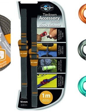 Tie drybags and other accessories down with carabiners and straps