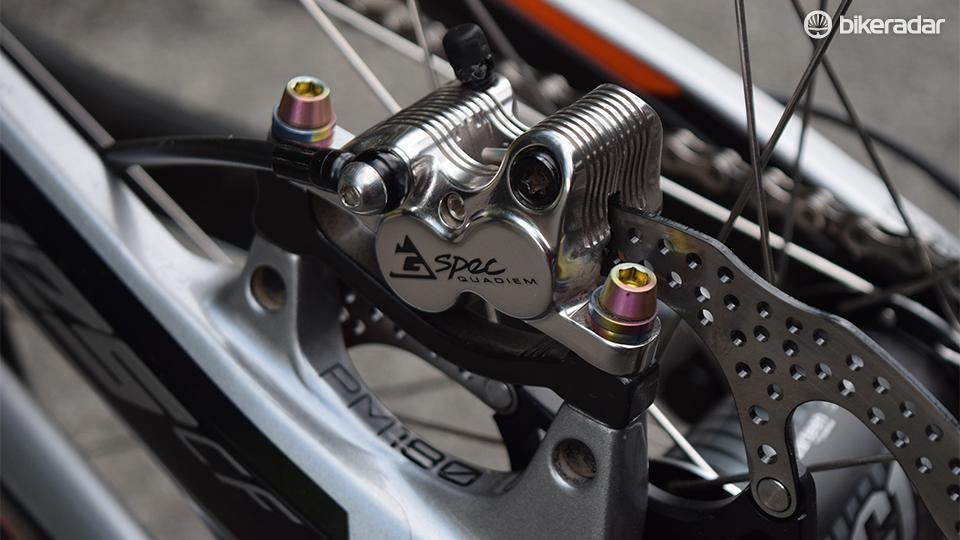 The TRP Quadiem G-spec brakes went through a few iterations under Gwin last season, but these are now off-the-shelf production brakes