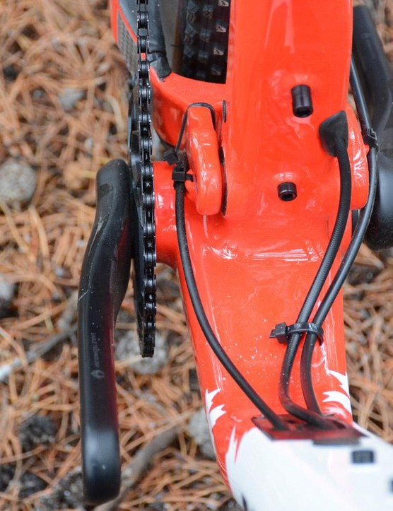 The seat tube is offset for crankset clearance