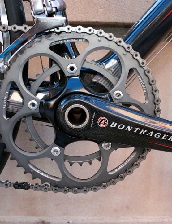 Bontrager provides the 50/34-tooth compact crank.