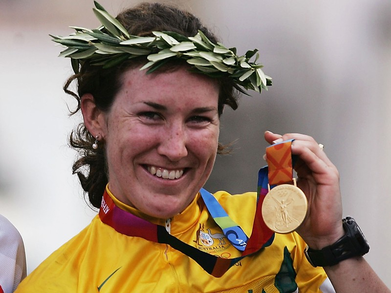 Sara Carrigan won the women's road race at the 2004 Olympics