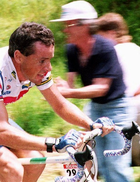 Former Irish cyclist Stephen Roche wins a breakaway stage of the 1992 Tour de France.