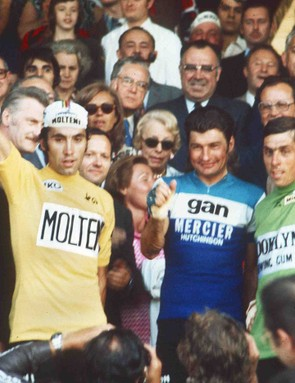 Belgian Eddy Merckx (L) won five Tours, and more than 524 races in his career.