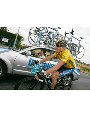 The last time we saw Armstrong race a road bike he wore yellow into Paris.