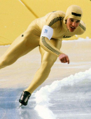 Eric Heiden winning gold in Lake Placid, New York in 1980.
