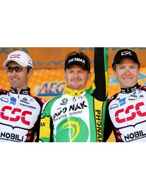 Former teammate Bobby Julich, Floyd Landis and Zabriskie on the Tour of California podium in 2006.