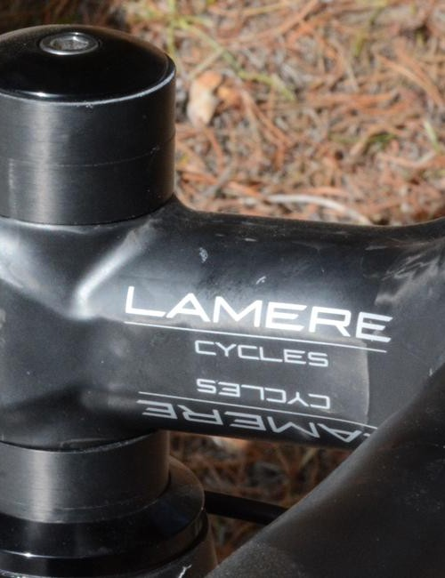 LaMere's own carbon stem and handlebar take care of the steering inputs