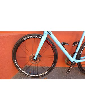 I got to ride the new Bora One 35 DB tubulars in Gran Canaria. Note 24 spokes in the front wheel, the same as the rear