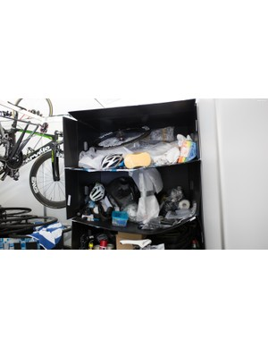 A few of the teams use plastic bike boxes as shelving