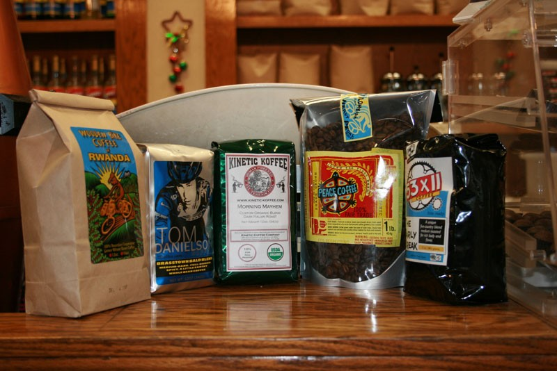 Our five coffees, nervously awaiting the test.