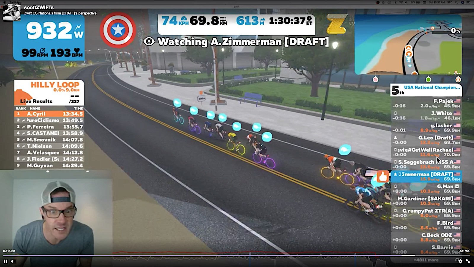 Zimmerman raced the Zwift US national championships as a team, complete with a team director, Scott Cunningham, who talked to the riders on the Discord app