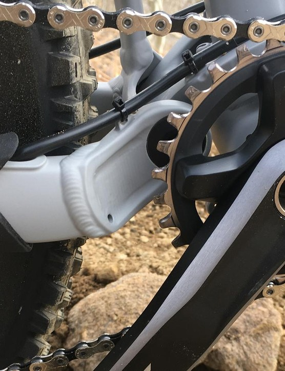 Shimano cranksets fitted with a 1x ring aren't quite as polished as the dedicated single-ring competitors