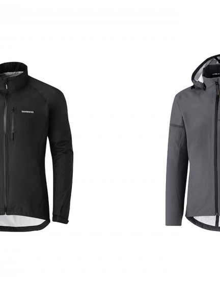 For wet weather commuting Shimano is offering the hoodless Explorer Rain jacket (left) and the Transit Hardshell jacket (right)