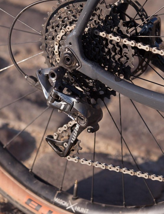 The clutch derailleur all but eliminates chain slap — even over nasty cobbles at speed. The ride was so quiet I could hear the internal housing slapping the inside of the frame