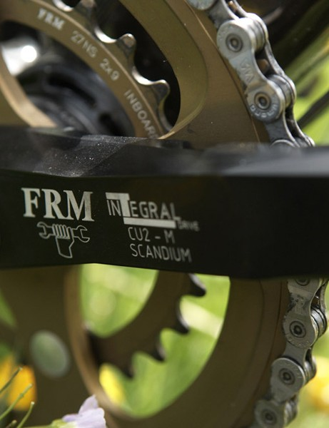 The FRM crankset comes with a special 27 tooth middle ring which allows a duo setup