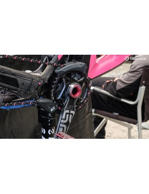 There's all sorts of pink highlights across this bike
