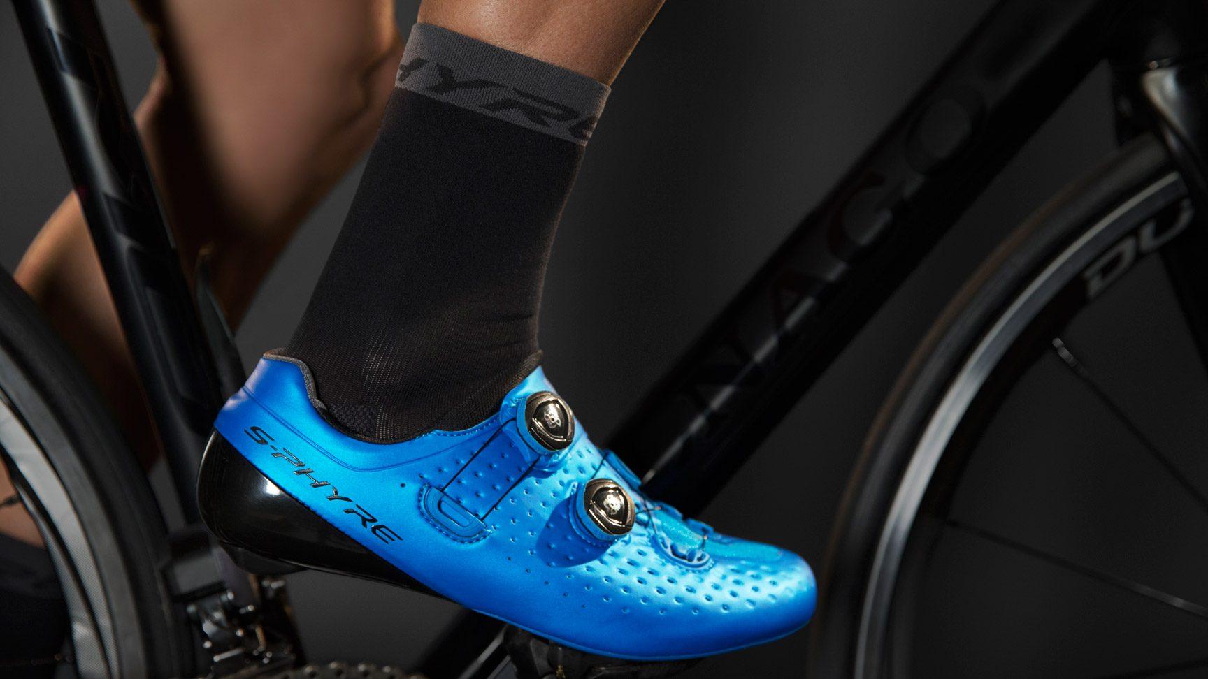 S-phyre High Socks Blue Shimano Bike