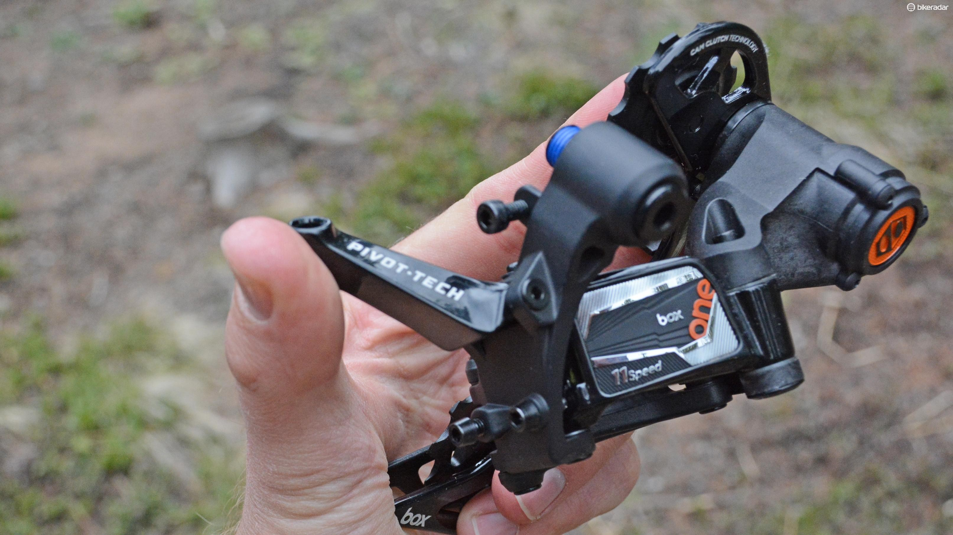 Pivot Tech is a spring-loaded cable stay that keeps the gear housing out of harm's way