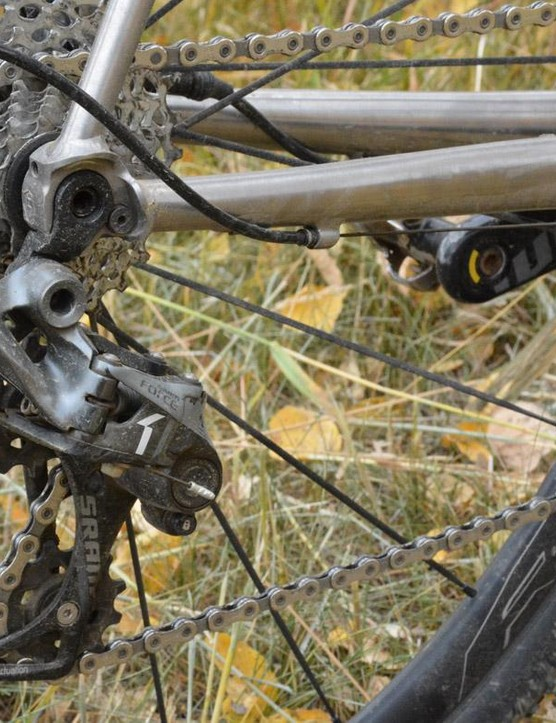The Force CX1 rear derailleur has a clutch to limit chainslap