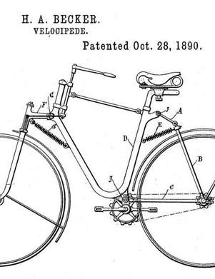 H.A. Becker's full-suspension bicycle design was patented in 1890