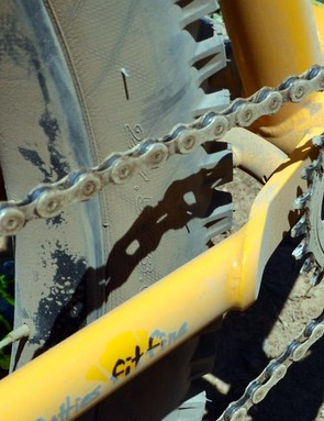 A chainstay plate helps with clearance for tires and chainrings