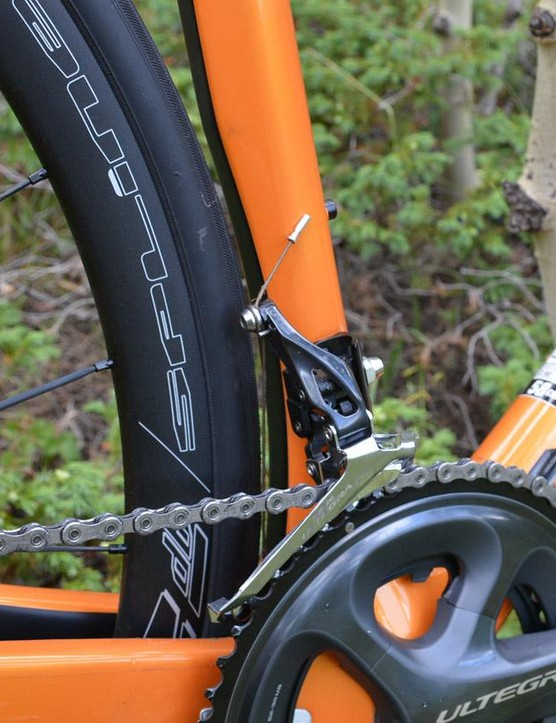 The seat tube features subtle aerodynamic shaping