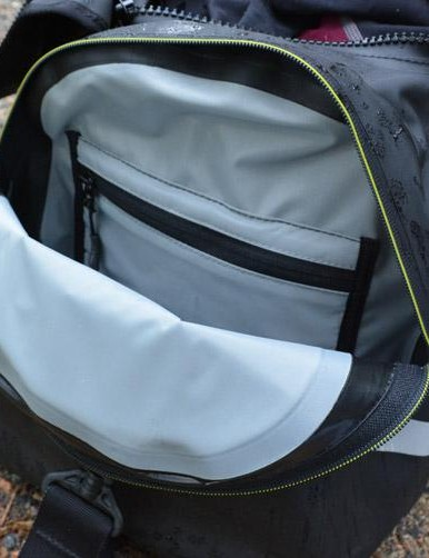 The inner zipped pocket is fleece-lined for electronics