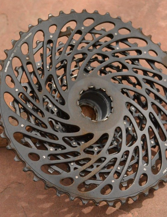 The XG-1275 12-speed cassette features pins holding it together rather than SRAM's expensive-to-produce X-Dome technology