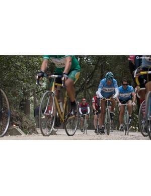Felice Gimondi battles up a gravel climb