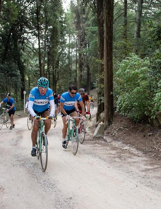 Gimondi rode a vintage Bianchi but opted for a modern, safer helmet