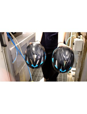 Two halves and many components are combined as heated EPS beads fuse together to form the helmet's shape