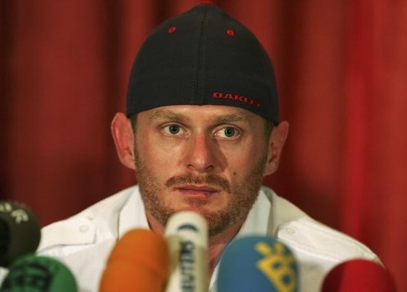 Floyd Landis, meeting the press in Madrid July 28, 2006.