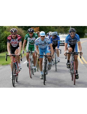 Zabriskie (L) rides with future brother-in-law Saul Raisin (in green) in September 2006.