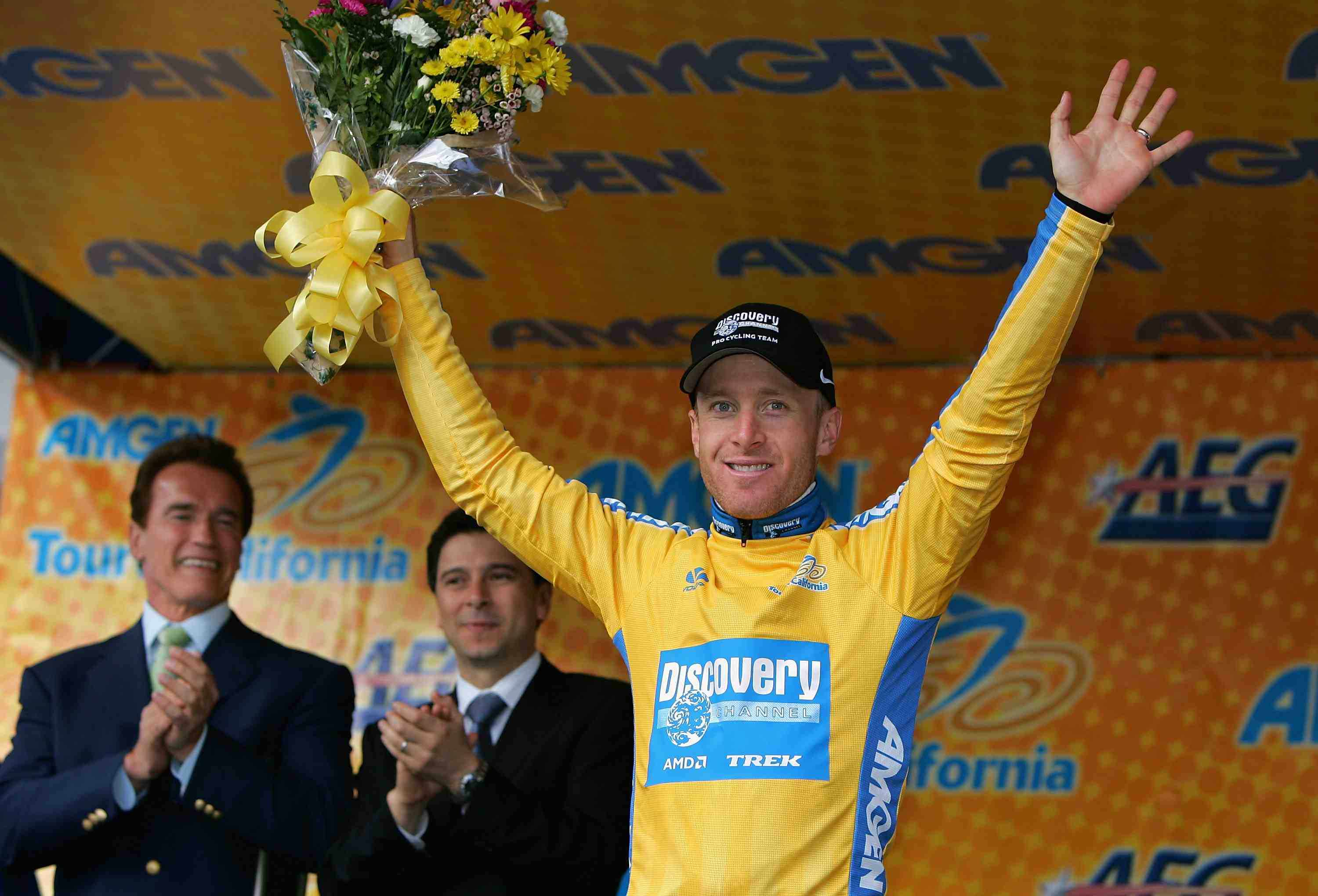 California governor Arnold Schwarzenegger (L) presented Levi Leipheimer with the Tour of California's leader's jersey in 2007.