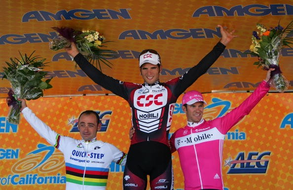 Paolo Bettini, JJ Haedo (c), and Greg Henderson after Stage 6 of the '07 ToC.