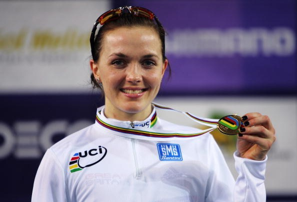 Pendleton with one of her medals at the World Track Championships in Spain