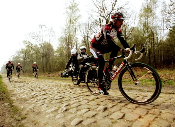 CSC's Fabian Cancellara prepping on the cobbles in 2007.