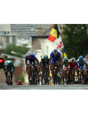 Boonen (L) and Steegmans (R) start the sprint in front