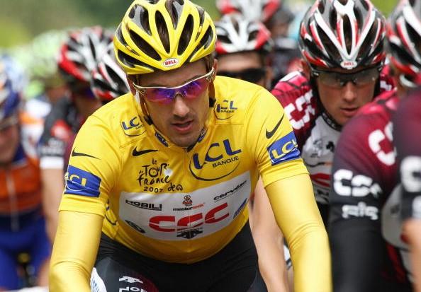 Team CSC's Fabian Cancellara leading the '07 Tour.