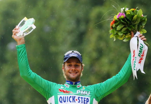 Belgian Tom Boonen wins overall green jersey at the 2007 Tour.